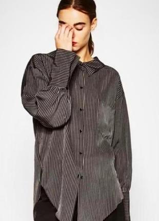 Удлиненная рубашка оверсайз в тонкую полоску zara.