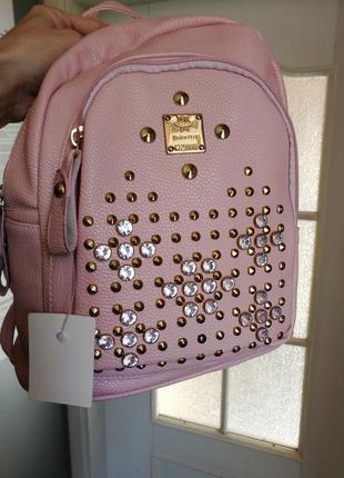 Шикарный розовый рюкзак портфель сумка