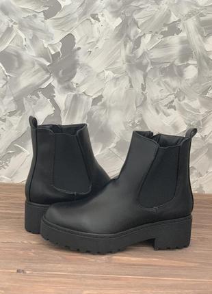 Женские черные демисезонные (осенние) ботинки (сапоги) челси