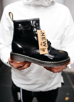 Стильные ботинки из лакированной кожи мартинс в черном цвете (осень-зима-весна)😍