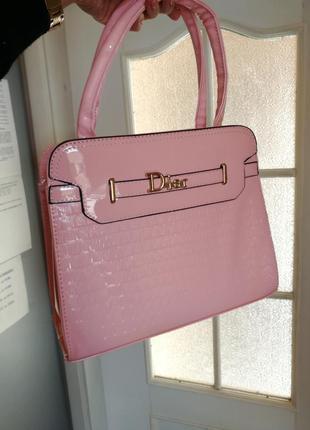 Розовая лак сумка короткие длинные ручки
