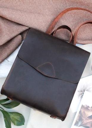 Кожа. ручная работа. кожаный рюкзачок, рюкзак трансформер. кожаная сумка, сумочка