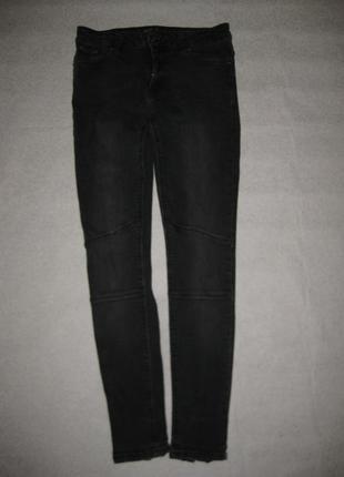 Размер м, стрейчевые джинсы скинни zara чёрные с замочками