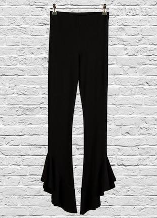Черный лосины с клешем,черные штаны приталенные, расклешенные брюки