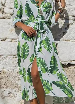 Легкое закрытое плате халат длинный туника белое с зелёным листьям s m