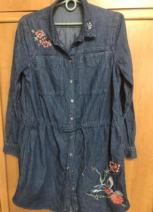 Платье джинсовое ог 102 см дл 86 см рукав 62 см