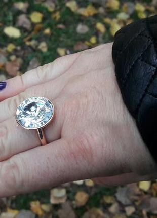 Позолоченное кольцо💎позолота 585 кристалл сваровски