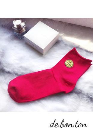 Новые носки носочки теплые яркие розовые с лимоном h&m/36-40