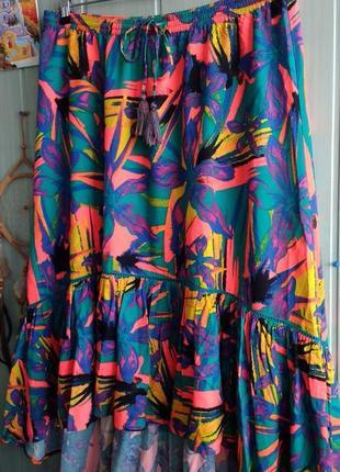 Яркая ассиметричная юбка большого размера 18uk (можно и больше)