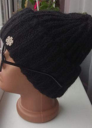 Новая модная шапка с подворотом, мохеровая, черная