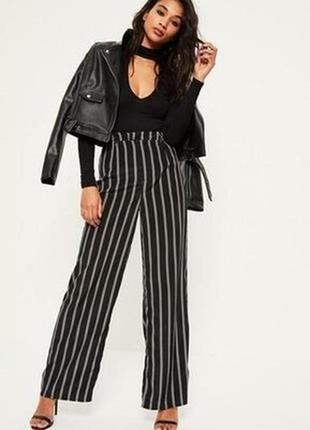 🔥🔥🔥новые черные классические женские легкие брюки, кюлоты в белую полоску 16 р. f&f🔥🔥🔥