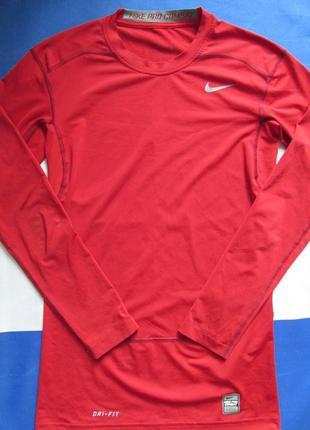 Мужская красная спортивная кофта nike pro combat лонгслив