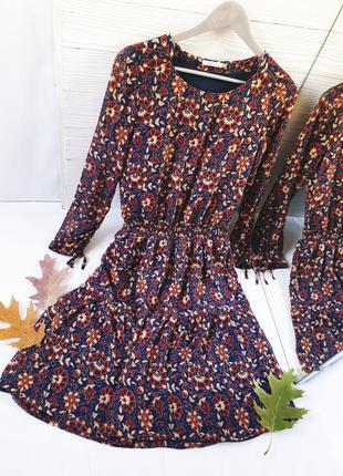 Платье стиль бохо шифон шифоновое цветочный принт