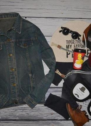 Xs обалденный фирменный пиджак джинсовый курточка джинсовка подростку