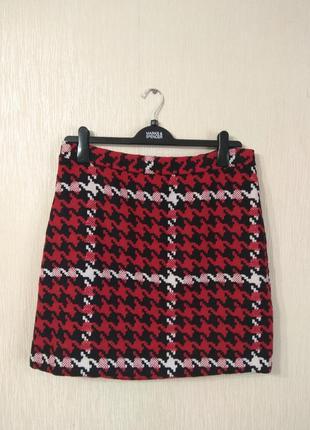 Крутая красная юбка гусиная лапка papaya размер 14-16 xl-xxl