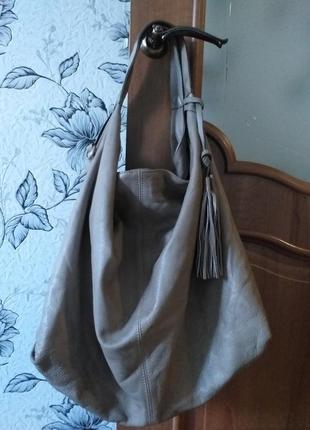 Кожаная сумка - шоппер