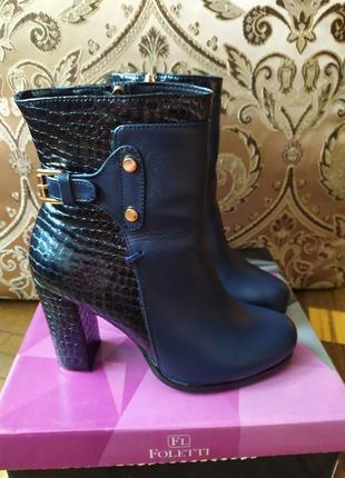Кожаные ботинки на устойчивом,толстом,широком каблуке,демисезонные