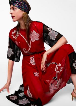 Розпродаж асиметричне платье с вишивкой от zara размер xs подойдет на s