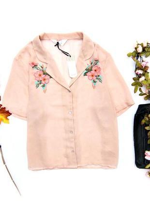 Шифоновая укороченная рубашка с вышивкой
