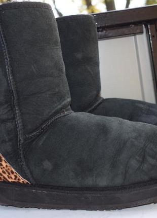 Замшевые ботинки зимние угги уги мех натуральный валенки сапоги