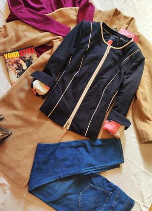 Пиджак жакет синий бежевый классический рукава подкатываются basler
