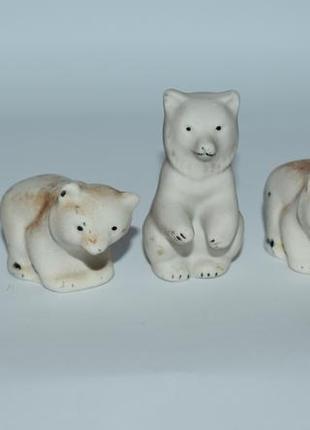 Набор 5 фигурок мини животные разные фаянс  винтаж