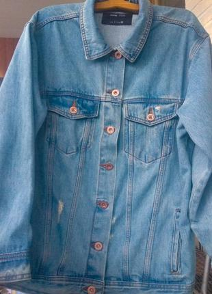 Джинсовка удлиненная оверсайз из плотного джинса