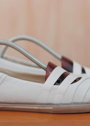 Женские белые кожаные балетки, туфли clarks, 38.5 размер. оригинал