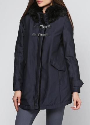 Брендовая темно-синяя утепленная куртка парка с меховым капюшоном и карманами zara