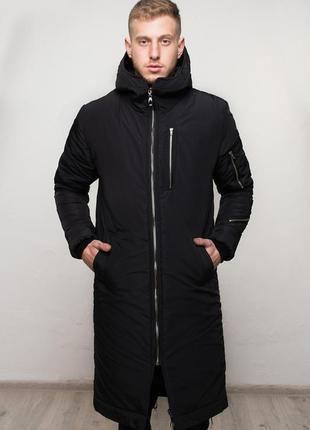 Шикарная мужская удлиненная куртка полностью чёрная зимняя😃{осень зима}