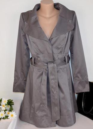 Брендовый серый плащ тренч с поясом и карманами new look коттон этикетка