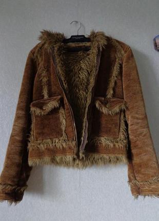 Тёплая вельветовая/на меху/ куртка с капюшоном + подарок