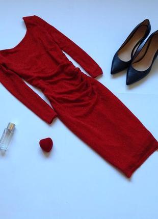 Блестящее красное платье мини new look
