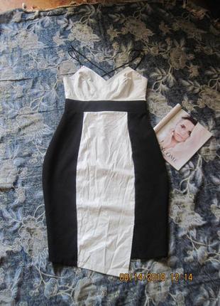 Фирменное нарядное платье с вставками из екокожи всего за 100 грн!!! lipsy