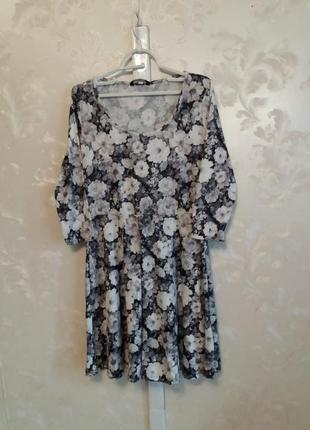 Расклешенное платье  в цветочный принт f&f
