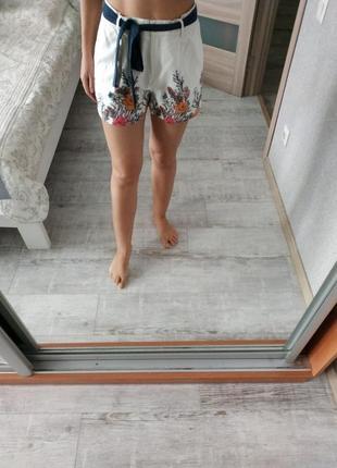 Стильные красивые шорты высокая посадка лен вискоза
