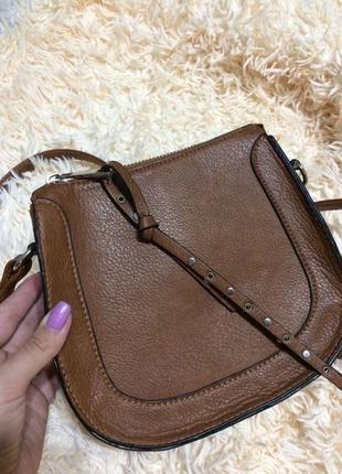 Новая коричневая сумка stradivarius сумочка кроссбоди мешок клатч рыжая