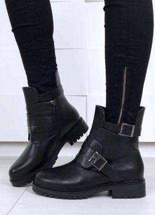 Ботинки челси осенние ботиночки зима зимние осень ремешок мех теплые низкий каблук
