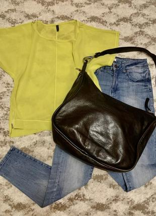 Брендовая кожаная сумка-шоппер giudit italy,фирменная коричневая сумочка
