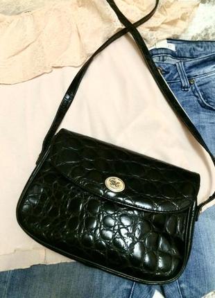 Фирменная кожаная сумка absolu paris,лаковая сумочка кросс-боди