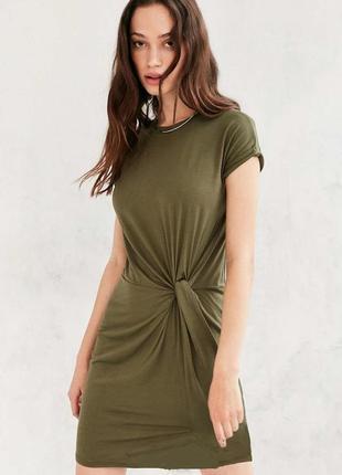 Платье миди футляр с узлом хаки оливка