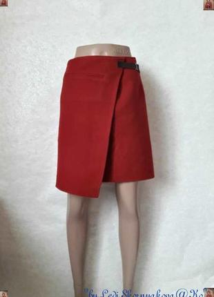 Фирменная jigsaw мини-юбка на запах красного цвета на 80 % шерсть, размер л