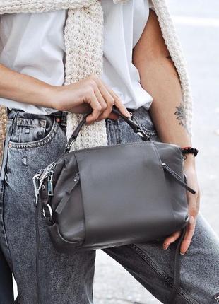 Женская кожаная сумка трансформер polina & eiterou черная серая жіноча шкіряна