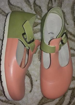 Ортопедические полностью кожаные туфли биркеншток