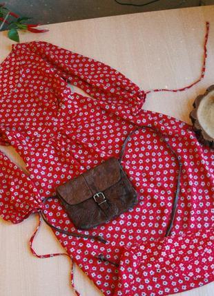 Платье в цветочек красное осень s 36 8 с объемными рукавами бохо этно вискоза легкое