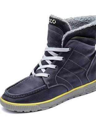 Кожаные ботинки ecco hydromax. стелька 24 см