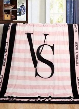 Покрывало плед из велсофт 150х130 victoria's secret, виктория сикрет