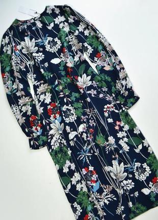 Роскошное платье в цветочный принт с длинным рукавом