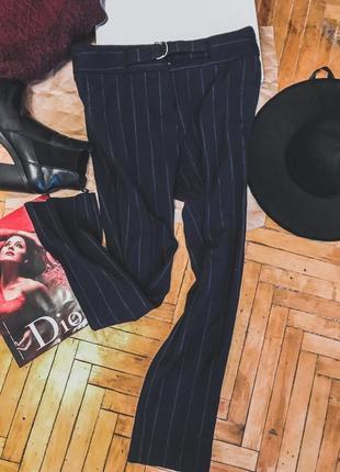 Идеальные темно-синие брюки в полоску