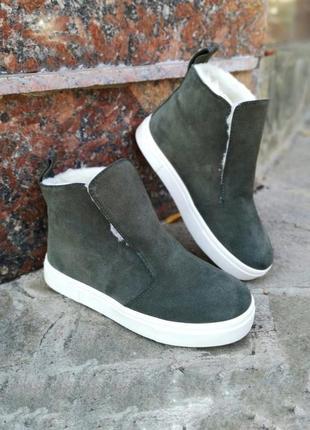 Хит этого года! высокие кеды ботинки из натуральной замши цвета хаки lux качества